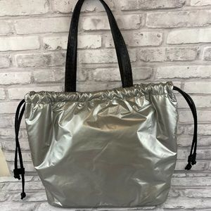 Sam Edelman Handbag Drawstring Closure Shiny Gray